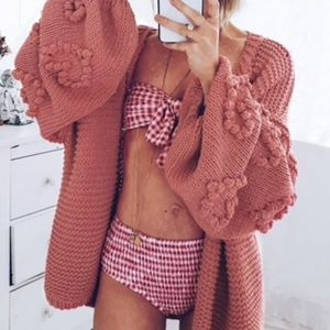 Sweaters - MADISON Balloon Sleeve Knit Cardigan